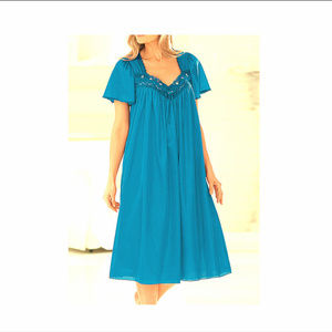 Only Necessities Silky Nylon Nightgown Sky Blue 1X